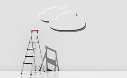 Step-ladder against a wall with a cloud Stock Images