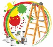 Step-ladder e pinturas Imagens de Stock