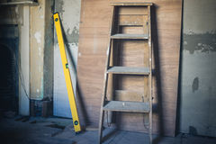 Step ladder and level Stock Photography
