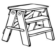 Line Drawing of Step Ladder/ Eps Royalty Free Stock Photo