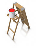 Step ladder and paint bucket Stock Images