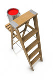Step ladder and paint bucket Stock Photos