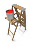 Step ladder and paint bucket Stock Photography
