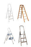 Step- Ladders. Four step-ladders are on white royalty free stock image