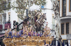 Step mystery of the brotherhood of hope of Triana, Easter in Seville Royalty Free Stock Photo