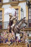 Step mystery of the brotherhood of hope of Triana, Easter in Seville. Procession of the brotherhood of Triana in the Holy Week in Seville Royalty Free Stock Photography