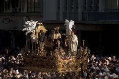 Step of mystery of the Brotherhood of St. Benedict, Holy Week in Seville Stock Image