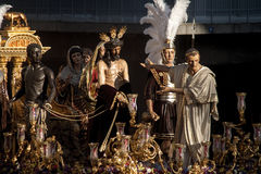 Step of mystery of the Brotherhood of St. Benedict, Holy Week in Seville Stock Photos