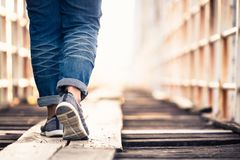 Step On Wood Bridge Stock Image