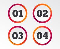 Step one, two, three icons. Sequence of options. Step one, two, three and four icons. Sequence of options symbols. Loading process signs. Infographic design Stock Image