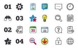 Step one, two, three icons. Sequence of options. Step one, two, three and four icons. Sequence of options symbols. Loading process signs. Chat, Report and Royalty Free Stock Images
