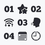 Step one, two, three icons. Sequence of options. Step one, two, three and four icons. Sequence of options symbols. Loading process signs. Wifi internet Stock Photos