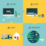 Step for online shopping infographic Stock Image
