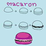 The step order to draw colorful macaron Stock Photo