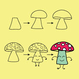 The step order to draw mushroom Royalty Free Stock Images
