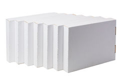 Step out of the box. White cardboard boxes isolated on white Stock Images