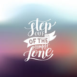 Step out of the comfort zone hand written lettering positive mot Royalty Free Stock Photo