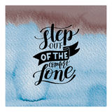 Step out of the comfort zone hand written lettering positive mot Stock Image