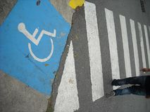 Step for people with reduced mobility and pedestrians. Royalty Free Stock Photography