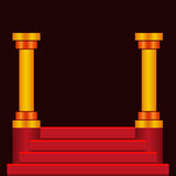 Step podium stairs. Empty step podium with red stairs and columns on dark background. Celebrity stage Royalty Free Stock Photos