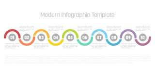10 step process modern infographic diagram. Graph template of circles and waves. Business concept of 10 steps or options. Modern design vector element in royalty free illustration