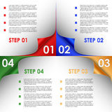 Step progress of colorful bent corners background Stock Photos