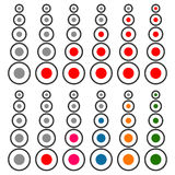 5 step progress, level indicator set. Red and multicolor version. Royalty free vector illustration Royalty Free Stock Photos