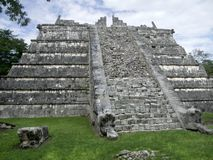 Step-pyramid in Chichen Itza. A step-pyramid in Chichen the Itza archaeological site in Yucatan, Mexico Royalty Free Stock Photo