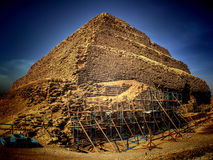 Step Pyramid of Djoser at Saqqara (Egypt). Panoramic view of the step pyramid of Djoser at Saqqara in process of restoration (Egypt stock photos
