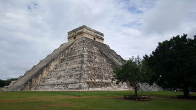 Step-pyramid & Maya temple at Chichen Itza. Archaeological site in Mexico Royalty Free Stock Photo