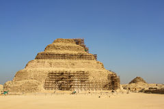 Step pyramid with scaffolding and blue sky Royalty Free Stock Photos