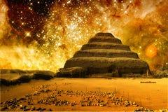 Step pyramid and the Tarantula Nebula (Elements of this image fu. Photo-montage of Step Pyramid at Saqqara and the Tarantula Nebula (Elements of this image Royalty Free Stock Images