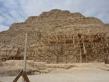 The Step Pyramid Under Repair in Cairo Egypt. The Step Pyramid is being maintained while an archaeological team discovers a new burial tomb Royalty Free Stock Photo