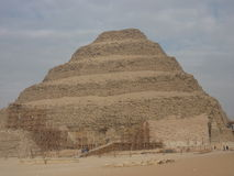 The Step Pyramid Under Repair in Cairo Egypt. The Step Pyramid is being maintained while an archaeological team discovers a new burial tomb Royalty Free Stock Photos