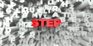 STEP - Rode tekst op typografieachtergrond - 3D teruggegeven royalty vrij voorraadbeeld Stock Afbeelding