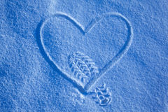 Step on snow heart Stock Images