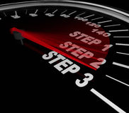 Step 1 2 3 Speedomter Instructions Directions Complete Task Job Royalty Free Stock Photo