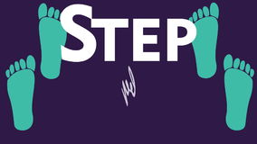 Step by step animation. Introduction clip for training, education.  Moving two pairs of green human footprints with animated text