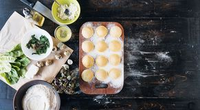 Step by step the chef prepares ravioli with ricotta cheese, yolk Royalty Free Stock Images
