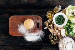 Step by step the chef prepares ravioli with ricotta cheese, yolks quail eggs and spinach with spices. A set of products for raviol. I Royalty Free Stock Photography