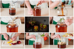 A Step by Step Collage of Making Apple Iced Tea Royalty Free Stock Photography