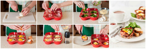A Step by Step Collage of Making Bacon and Egg Cups Stock Photo