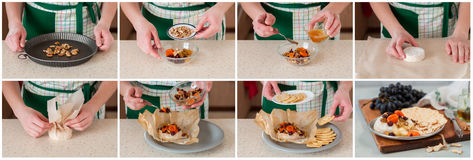 A Step by Step Collage of Making Baked Brie. A Step by Step Collage of Making Dried Fruit Apricots, Cranberries and Sultanas, Walnut and Honey Baked Brie stock photography