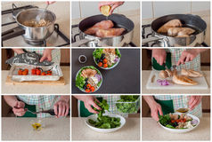 A Step by Step Collage of Making Buddha Bowl royalty free stock image