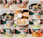 A Step by Step Collage of Making Cabbage, Egg and Cumin Pie Royalty Free Stock Image