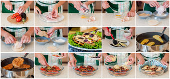 A Step by Step Collage of Making Chicken Parmigiana Royalty Free Stock Images