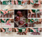 A Step by Step Collage of Making Christmas Cookies Stock Photos