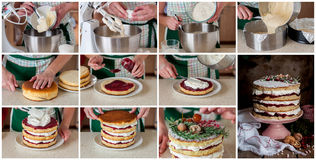 A Step by Step Collage of Making Christmas Layered Cake Stock Image