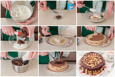 A Step by Step Collage of Making Coffee and Chocolate Crepe Cake Royalty Free Stock Photography