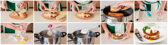 A Step by Step Collage of Making Croque Madame Stock Images